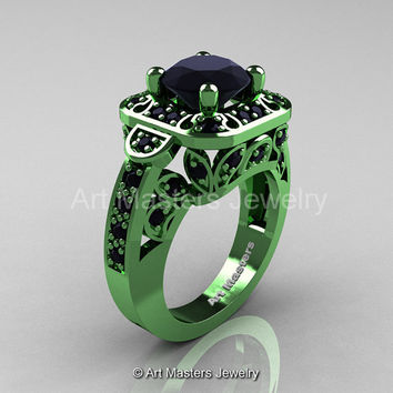 Art Masters Classic 14K Green Gold 2.0 Ct Black Diamond Engagement Ring Wedding Ring R298-14KGGBD