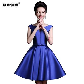 Newest Purple Bridesmaid Dresses A Line Pretty Short Backless Wedding Dress Sexy Satin Dress Mini Women Formal Gown with Pocket