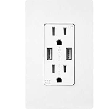 TOPGREENER TU2154A 4 Amp High Speed Dual USB Charger Outlet 15A TR Receptacle | Screwless Wall Plates, White
