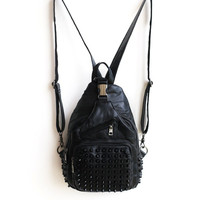 Back To School Comfort College Stylish Hot Deal Casual On Sale Korean Leather One Shoulder Multi-functioned Rivet Zippers Soft Mosaic Backpack [4915797572]