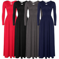 Hot Sale Winter Long Sleeve Round-neck Stylish Prom Dress One Piece Dress [4918232964]