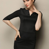 Black V-neck Half Sleeve Bodycon Mini Dress