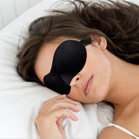 3D Soft Eye Sponge Cover Eyeshade Blinder Travel Sleep Aid Relax Mask Shade Blindfold Black