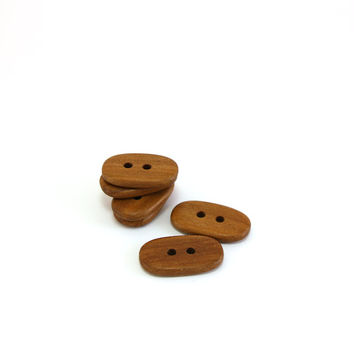 Rustic applewood buttons - 1 in (27mm) - Handmade wooden buttons - Set of 6 natural wood buttons