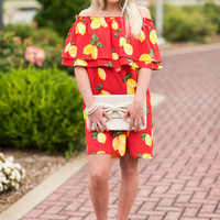The Pippa Dress, Red-Lemon