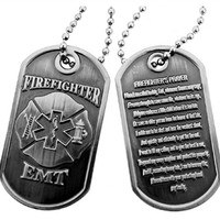 Firefighter EMT Firefighter Prayer Brushed Steel Dog Tag