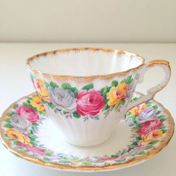 English Gladstone Rosemary Pattern Fine Bone China Tea Cup and Saucer Tea Party