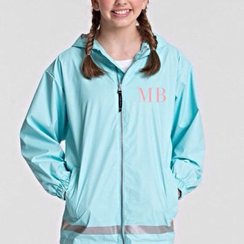 Sale- 1 week only Youth Girls Monogrammed Charles River New Englander Rain Jacket