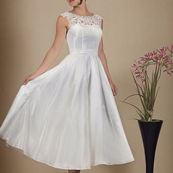 hn-1919 Taffeta tea length wedding dress