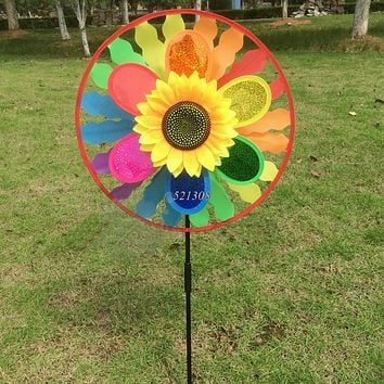 Kids Sunflower Windmill Wind Spinner Rainbow Whirligig Wheel Home Lawn Yard Decor