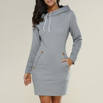 Women Hoodies Sweatshirt 2017 Autumn Winter Hoodie Dress For Women Pullovers Casual Hooded Sweatshirts Long Female Tracksuits