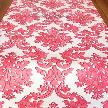 NEW!! Coral Red Damask Table Runner, Modern Table Runner, Handmade Table Cover, Wedding Decor, Wedding Table Runner