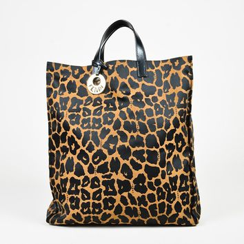 Fendi Black Tan Leopard Print Canvas & Leather Tote Bag