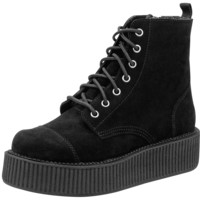 Black Suede Combat Creeper Boots – T.U.K. Shoes