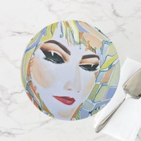 Surreal girl watercolor painting cake stand