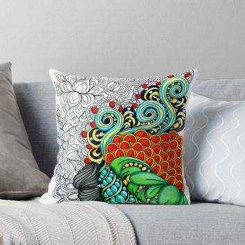 'Colorful zen doodle. ' Throw Pillow by Maria-So