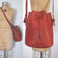 Coach RED Bucket Bag / leather drawstring purse