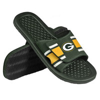 Green Bay Packers Official NFL Mens Stripe Shower Flip Flops
