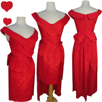 Dress Vintage 80s 50s RED TAFFETA Cocktail Party Prom Dress S Pinup BOW Fly Away Train