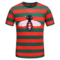 Gucci New Stripe Bee Print T-Shirt Top Tee