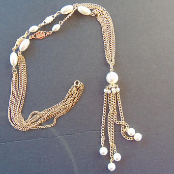 Stunning Vintage Gold Tone and Pearl Long Necklace Tassel at End Vintage