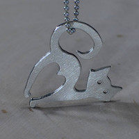 Sterling silver cat necklace for the feline fanatic