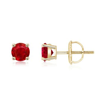 Classic Four Prong Set Ruby Basket Stud Earrings
