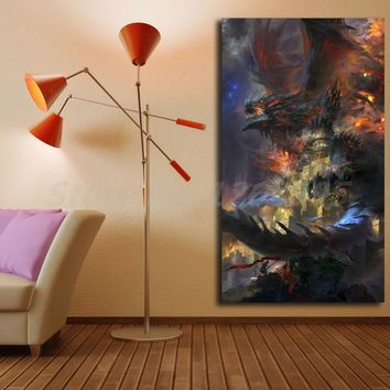 World Of Warcrafts Deathwing Wallpaper Canvas Painting Print Artwork Living Room Home Decor Modern Wall Art Oil Painting Poster