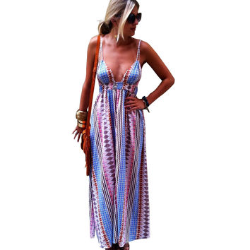 Multicolor Vintage Print Strapy Maxi Dress