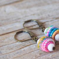 Handmade Copper Fiber Bead Earring, Love, Pastel, Nature Jewelry, Yarn Bead, Yarn Jewelry
