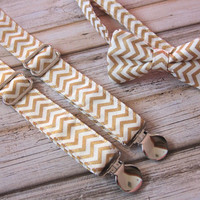 Metallic Gold and Cream Chevron Bow Tie and Suspenders set ( Men, boys, baby, toddler, infant Suspender and Bowtie )