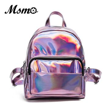 MSMO 2017 Women Silver Hologram Backpack Laser Back Pack Women Bag Leather Holographic Daypack Small Size Multicolor
