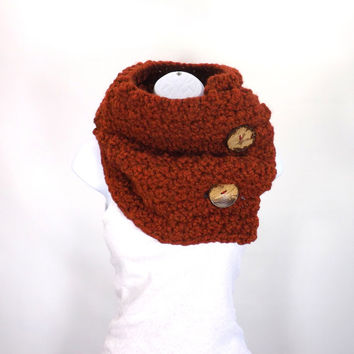 Large Chunky Cowl with Two Natural Coconut Shell Buttons /SPICE/, Unisex Buttoned Scarf Neck Warmer, Gift Idea