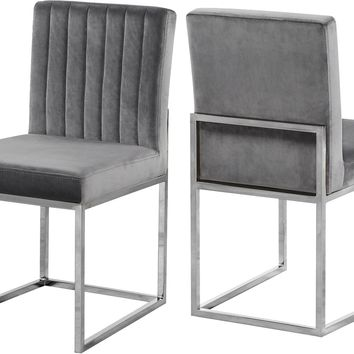 Giselle Grey Velvet Dining Chair (set of 2)