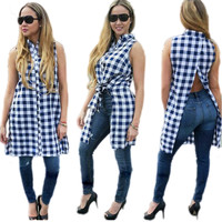 Sleeveless Tall Blue Blouse with Back Split 22150-1