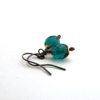 Teal glass earrings, Czech glass jewelry, mixed metal jewelry, delicate jewelry, teal earrings, round drop earrings, blue green teal jewelry
