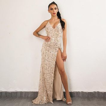 Women's Long Sleeveless V Neck Fit And Flare All Over Gold Sequined Evening Dress