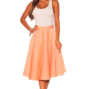 Orange Flared A-Line Midi Skirt