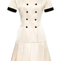 Chanel White Satin Dress With Black Trim by Vintage Chanel for Preorder on Moda Operandi