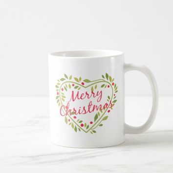 CHRISTMAS HEART WREATH GIFT MUG | MODERN