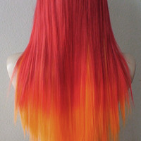 Red / Orange hair Ombre wig. Long straight hair Long bangs Durable Heat resistant wig for Cosplay or Daily use