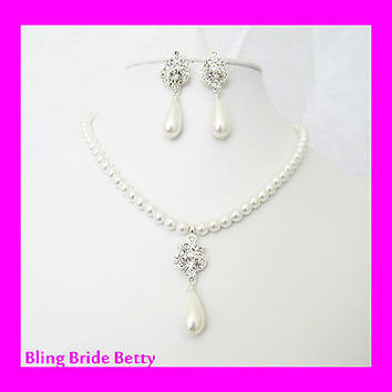 Silver Bridal White Pearl Necklace Earring Set