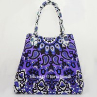 Purple 3 D Star Mandala Boho Beach Tote Bag for Women on RoyalFurnish.com