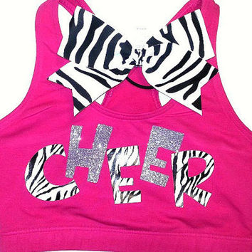 Zebra & Glitter Cheer Sports Bra With Matching Zebra Bow