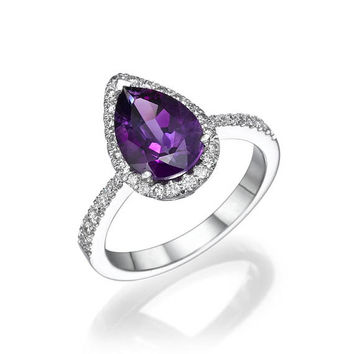 Diamond Engagement Ring, 18K White Gold Ring, Amethyst Engagement Ring, Vintage Halo Ring, Art Deco Engagement,