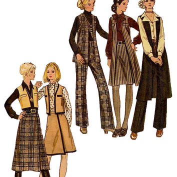 1970s MOD BOHO WARDROBE Pattern Vest Pants & Wrap Skirt Pattern Knee Length Vest Butterick 5986 Vintage Womes Sewing Patterns Bust 34 UNCuT
