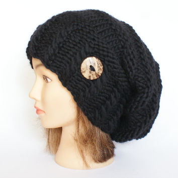 Slouchy beanie hat black wool slouch hats chunky knit beanies irish handknit knitted with button for women accessory adult teenager