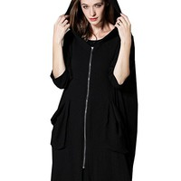 Women's Black Jacket Coat With Hood Casual Loose Fitting Plus Size