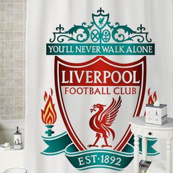 Liverpool Logo special shower curtains that will make your bathroom adorable.