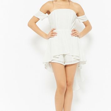 Open-Shoulder Grid Romper
